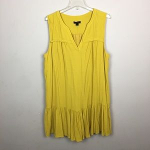 J. Crew mustard ruffle hem shift midi dress